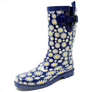 "Women 11"" Mid-Calf Rubber Daisies Rain Boots"